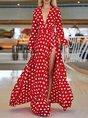 Sundress V Neck  Date Polka Dots Holiday Maxi Dress
