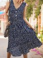V Neck Shift Beach Holiday Floral Midi Dress