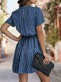 Stand Collar  A-Line Daily Stripes Mini Dress