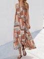 Sundress Spaghetti Red Swing Boho Maxi Dress