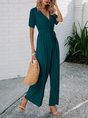 Dark Green Shift Short Sleeve Solid Sexy Jumpsuit