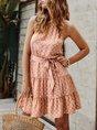 Summer Halter Beach Printed Mini Dress