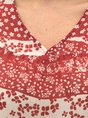 Red Shirred Short Sleeve Floral Top