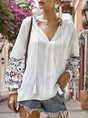V Neck Spring White Shift Boho Top
