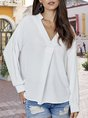 Work Sold V-neck Paneled Blouse
