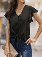 Summer Solid V Neck Shift Daily Blouse