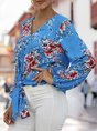 Long Sleeve Holiday Floral Blouse