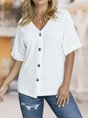 Sheath Half Sleeve Solid V Neck  Causal Blouse