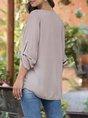 Khaki V Neck Solid Shift Long Sleeve Blouse