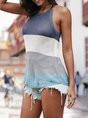Summer Casual Sleeveless Shift Color-Block Top