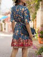 Knot Front Beach Floral Printed Mini Dress