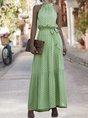 Sundress Halter A-Line Holiday Polka Dots Maxi Dress
