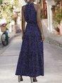 Halter A-Line Printed Polka Dots Maxi Dress