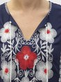 Shift V Neck Embroidery Floral Seaside Maxi Dress