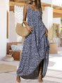 V Neck Spaghetti-Strap Holiday Printed Maxi Dress
