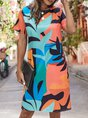 Multicolor Short Sleeve Crew Neck Casual Midi Dress