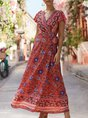 V Neck Beach Boho Floral Holiday Maxi Dress