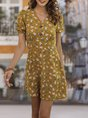 V Neck Yellow A-Line Daytime Floral Mini Dress
