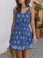 Sundress Spaghetti-Strap V Neck Tribal Mini Dress