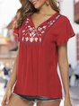 Floral Embroidered V Neck Frill Sleeve Holiday Top