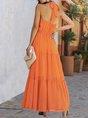 Halter Chiffon Daytime Gathered Maxi Dress