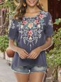 Gray Floral Holiday Embroidered Top