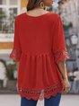 Red V Neck Paneled Half Sleeve Boho Blouse