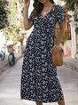 Surplice Neck Printed Short Sleeve Floral Midi Dress