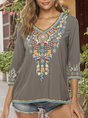 Floral V Neck 3/4 Sleeve Holiday Top