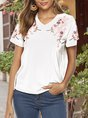 Holiday Short Sleeve Embroidery Top