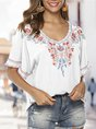 Short Sleeve Floral Embroidered  Top