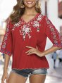 Shift Holiday Floral Embroidered Top