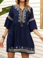 Sundress V Neck Deep Blue Shift Mini Dresses