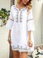 Off White Shift Vintage Tribal Mini Dress
