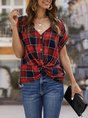 Batwing Knot Front Casual Shift Blouse
