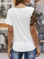 Casual Short Sleeve Leopard Knot Front Blouse