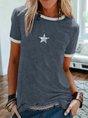 Short Sleeve Crew Neck Casual Geometric Printed T-Shirt