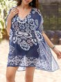 V Neck Boho Allover Bikini Cover Mini Dress