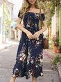 Horizontal Neck Holiday Floral  Midi Dress