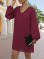 V Neck Shift Daily Casual Mini Dress