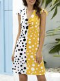 Frill Sleeve Knot Front Polka Dots Daytime Midi Dress