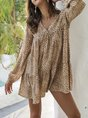 V Neck Brown Boho Shift Mini Dress