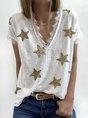 White Star Short Sleeve Casual V Neck Top