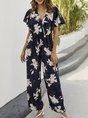 Surplice Neck Frill Sleeve Floral Holiday Jumpsuit
