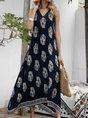 V Neck Swing Floral Boho Maxi Dress