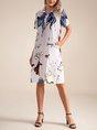 Shirt Collar Abstract Printed Shift Midi Dress