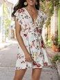 V Neck White Boho Floral Mini Dress