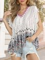 Boho V Neck Printed Short Sleeve Top