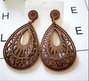 Wooden Drop Shaped Pierced Earrings