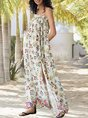 White Spaghetti-Strap Shift Holiday Maxi Dress